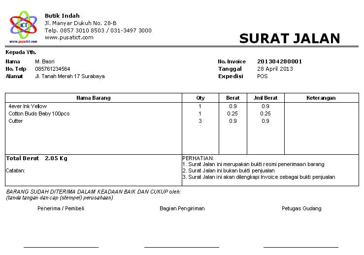 Contoh Surat Jalan Pengiriman Barang Xls Contoh Rto